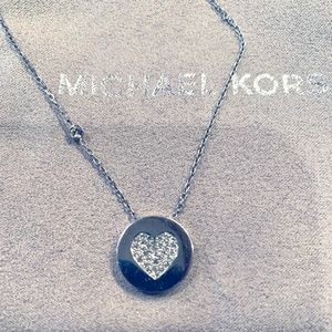 MK Silver Heart Charm adjustable necklace